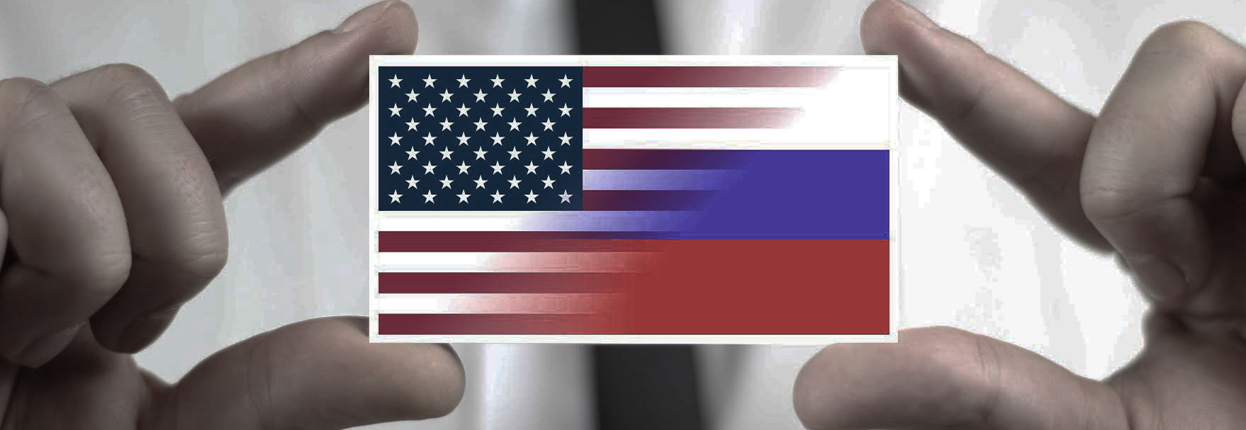 an image with Russian and American flags